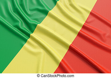 Republic of the Congo flag. Wavy fabric high detailed...