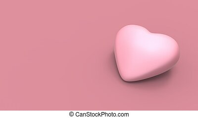 Valentine's pink heart on pink background with soft colors and shadows. 3D illustrating
