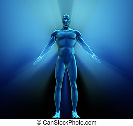 Human body with metallic appearance - 3d render