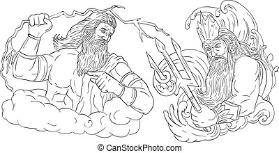 Zeus Thunderbolt Vs Poseidon Trident Black and White Drawing...