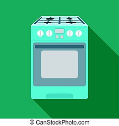 Kitchen stove icon in flat style isolated on white...