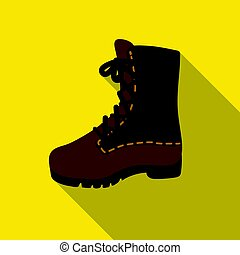 Combat boot icon in flat style isolated on white background....