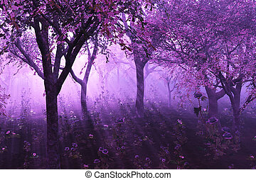 Lavender Forest - A misty morning among flowering trees - 3D...