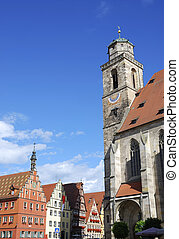 Old town Dinkelsbhl - Minster St Georg of Dinkelsbhl in...
