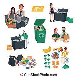 freeganism set. freegan people search food in dumpster,...