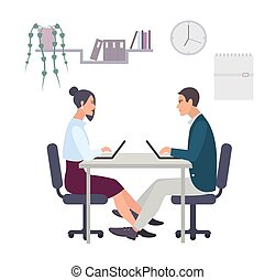 Concept for office romance, flirting at work, love-affair. Couple, man and woman working at the laptop. Colorful vector illustration in flat style.