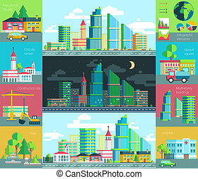 illustration of city life, urban landscape with the...