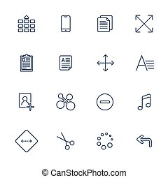 Vector illustration of apps icon set over linen texture.