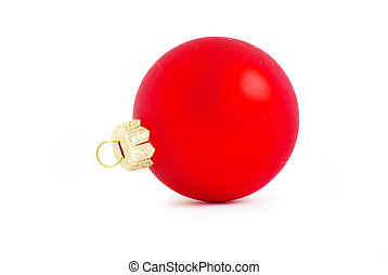 red ball - Red Christmas ball isolated on white background