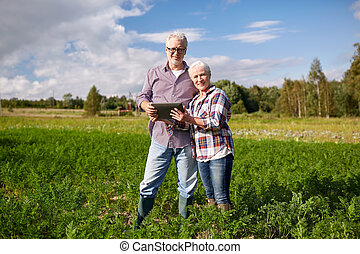 happy senior couple with tablet pc at summer farm - farming,...