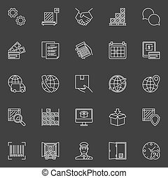 Delivery and logistics icons. Vector collection of thin line...