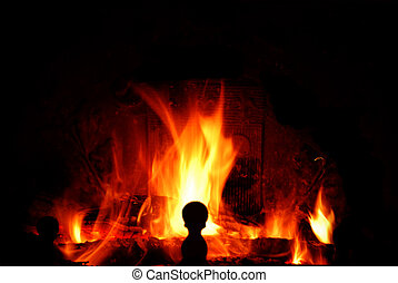 Fire in the house - The fire is burning in the fire place,...