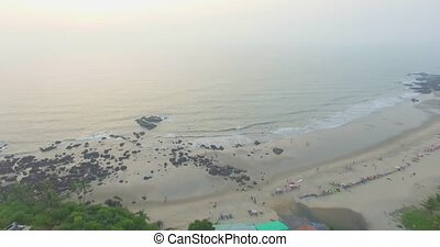 Kalacha beach on sunset. India in Goa. Aerial