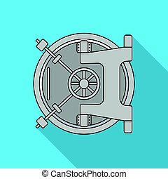 Bank vault icon in flat style isolated on white background....