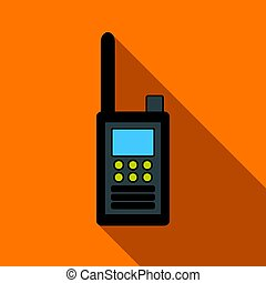 Handheld transceiver icon in flat style isolated on white...
