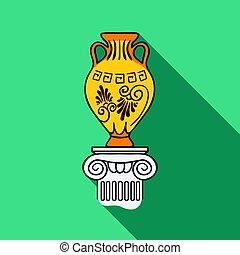 Amphora icon in flat style isolated on white background....