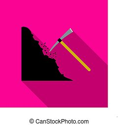 Pickaxe icon in flat style isolated on white background....
