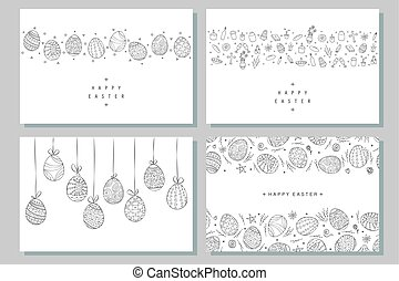 Collection of happy easter banners. Hand drawn illustration