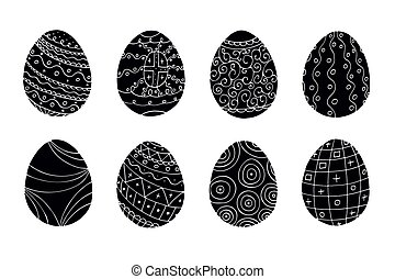 Easter eggs set. Hand drawn