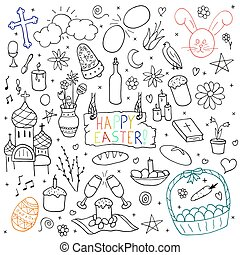 Collection of happy easter elements. Hand drawn icon set.