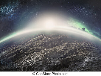 Extraterrestrial landscape of distant icy planet with...