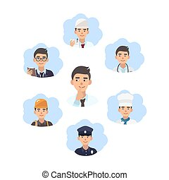 Career choice concept. Young guy choose a profession. Illustration in flat style.