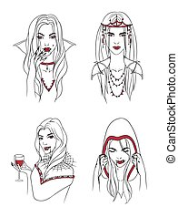 Vampire girl. Woman with fangs and blood. Collection stylish portrait halloween character. Hand drawn contour vector illustration.
