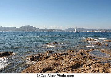 Yacht and rocks St Tropez