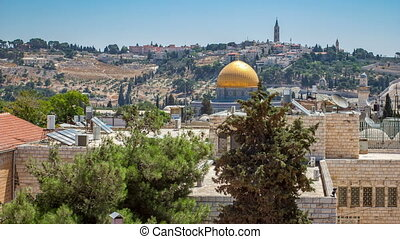 Panorama overlooking the Old city of Jerusalem timelapse,...