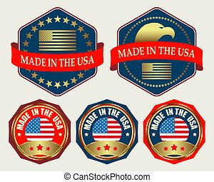 emblem with US flag - the emblem in dark blue and red color...