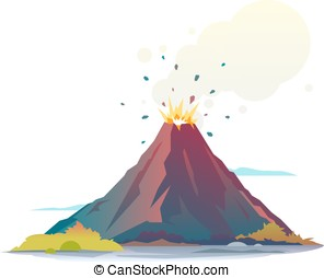 Volcano Eruption - Volcano eruption disgorge lava and smoke,...