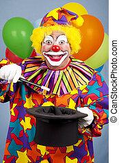 clown, fait, magie, tour