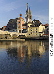 famous city regensburg in germany - landmarks old stone...