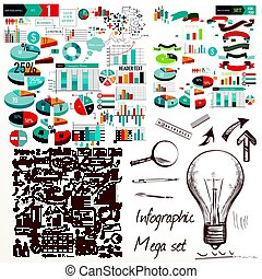 Big infographic and diagram business design elements vector...