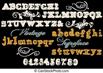 Font typeface, vintage styled font with letters, numbers....
