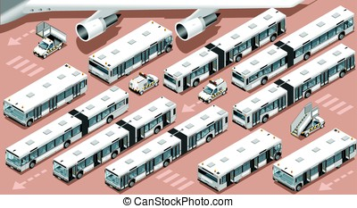 Airport Terminal Airfield Bus Shuttle 3D Vehicle Isometric...