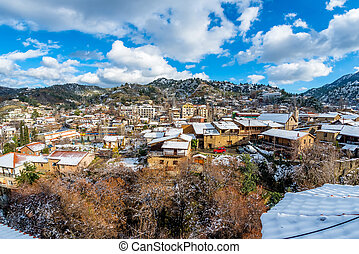 A small mountain village of Kakopetria covered in snow. Nicosia District, Cyprus