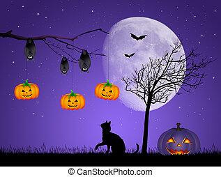 Halloween night - illustration of Halloween night
