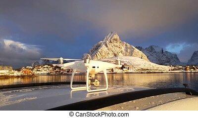 Flight of the drone, Lofoten Islands, Norway. Video 4k
