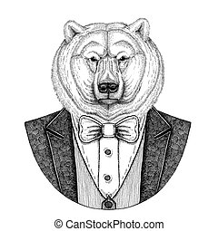 Polar bear Hipster animal Hand drawn illustration for...