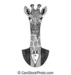 Camelopard, giraffe Hipster animal Hand drawn image for...
