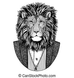 Wild Lion Hipster animal Hand drawn illustration for tattoo,...