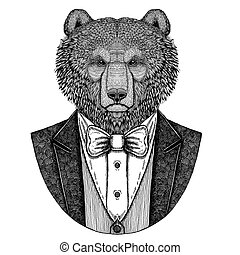 Brown bear Russian bearHipster animal Hand drawn image for...
