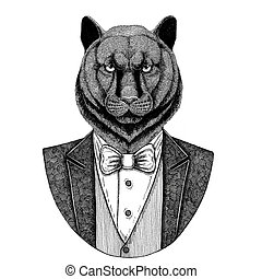 Panther Puma Cougar Wild catHipster animal Hand drawn...
