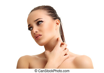 Young woman suffering from sore throat isolated over white background