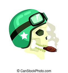 Scull In Green Helmet Smoking Cigar, Colorful Sticker With War And Biker Culture Attributes Vector Icon