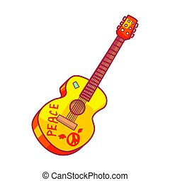 Acoustic guitar with peace lettering. Colorful cartoon...