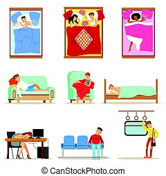People Sleeping In Different Positions At Home And At Work, Tired Characters Getting To Sleep Series Of Illustrations