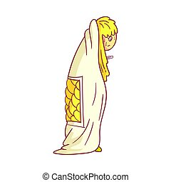 Girl caught flu, having high temperature standing and covered with a blanket. Colorful cartoon character