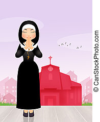 nun praying in the church - illustration of nun praying in...